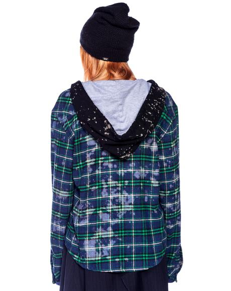 Studded Flannel Bleach Hoodie