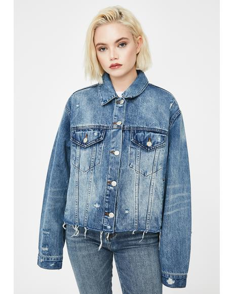 Ex Boyfriend Distressed Denim Jacket