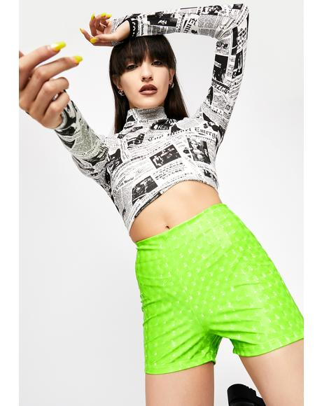 Neon Rave Matter Vinyl Shorts