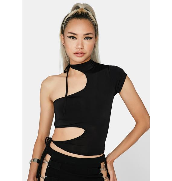 Dark Abstract Feelings Cut-Out Top