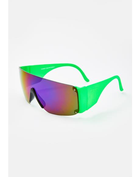 Green Neon Shield Sunglasses