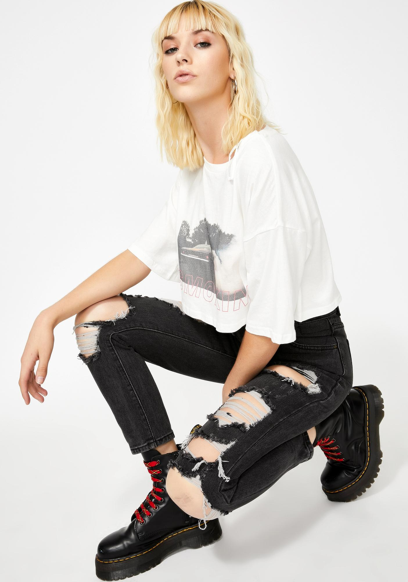 Lioness The New Rules Black Distressed Jeans