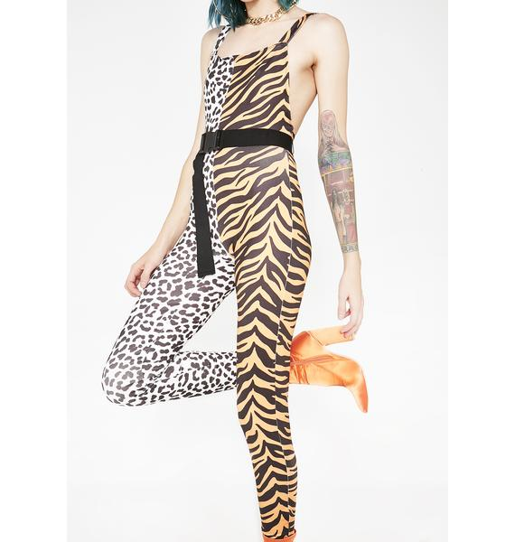 Jaded London Half Tiger Half Snow Leopard Catsuit