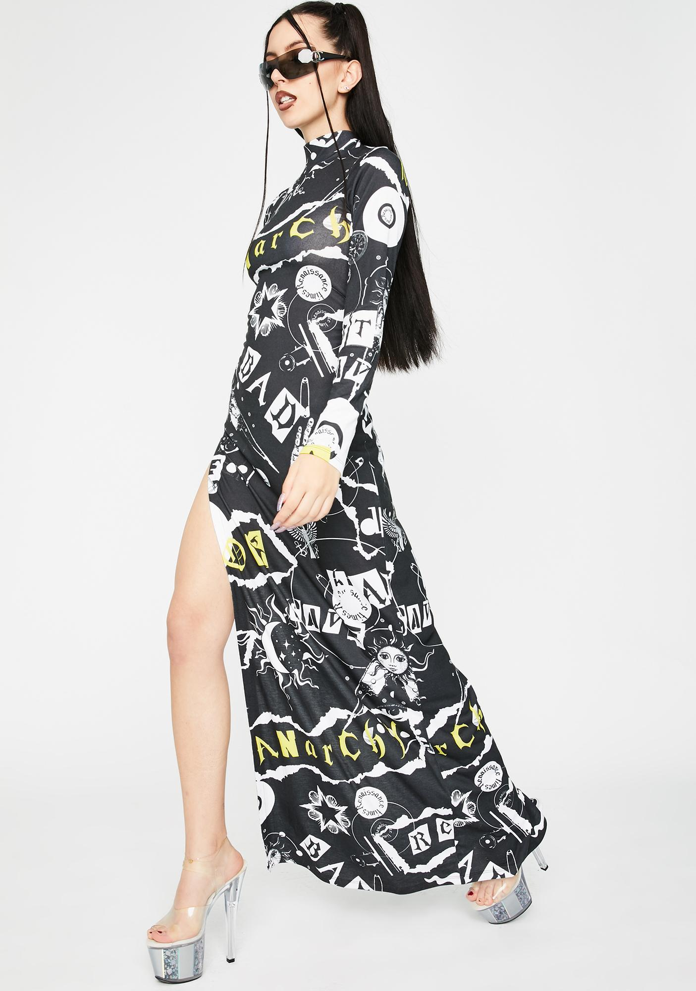 Jaded London Punk Print Maxi Dress