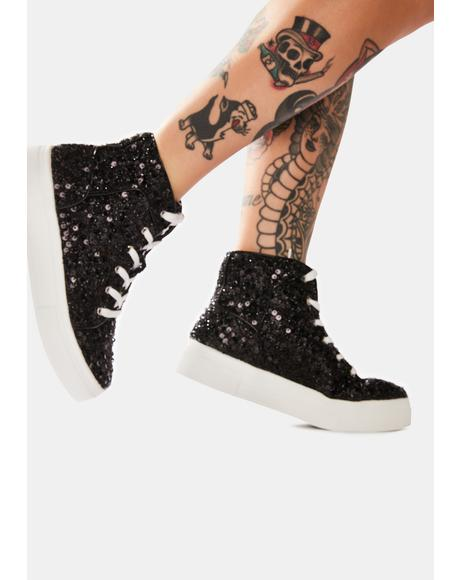 Noir Party's Here Sequin Sneakers