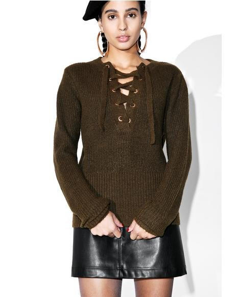 Feelin� Yew Lace Up Sweater