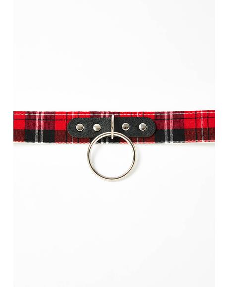 Ring Of Fire Plaid O-Ring Choker