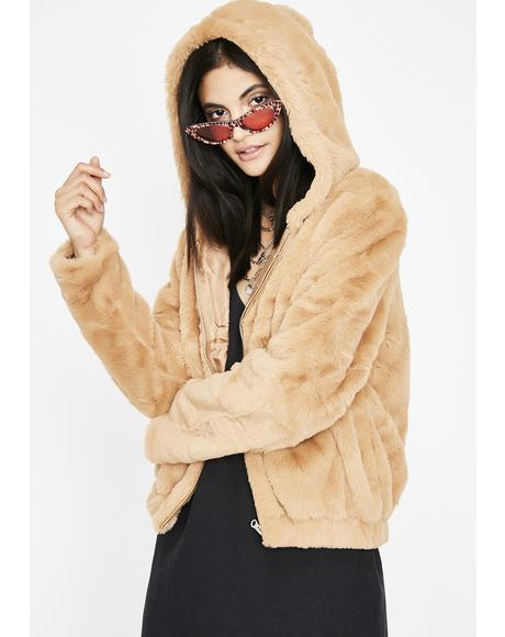 Camel Feel Me Up Fuzzy Jacket