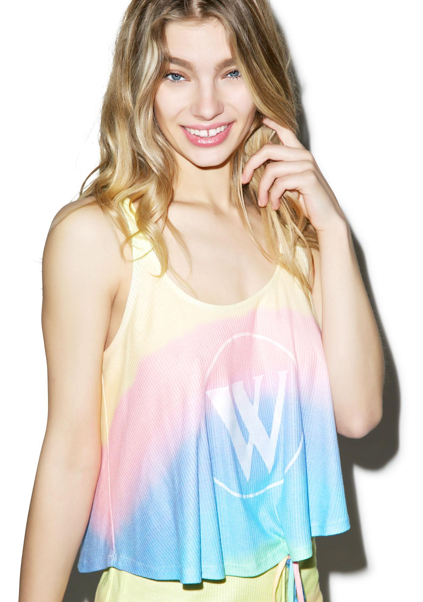 Wildfox Couture Pastel Tie Dye Logo Fiji Tank