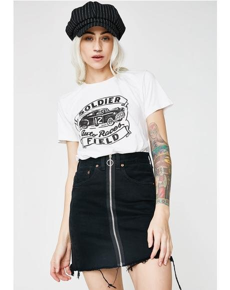 Zip Front Reworked Denim Skirt