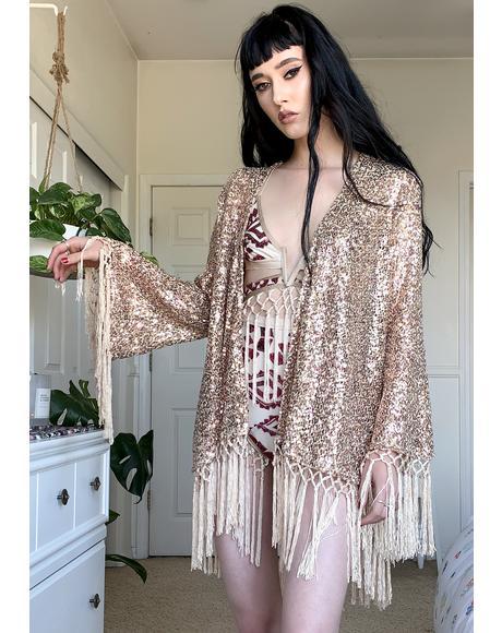 Nude Knit Sequin Cruise Kimono Jacket