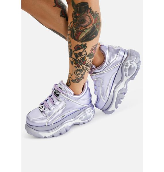 Buffalo London Lilac Classic Low Leather Platform Sneakers