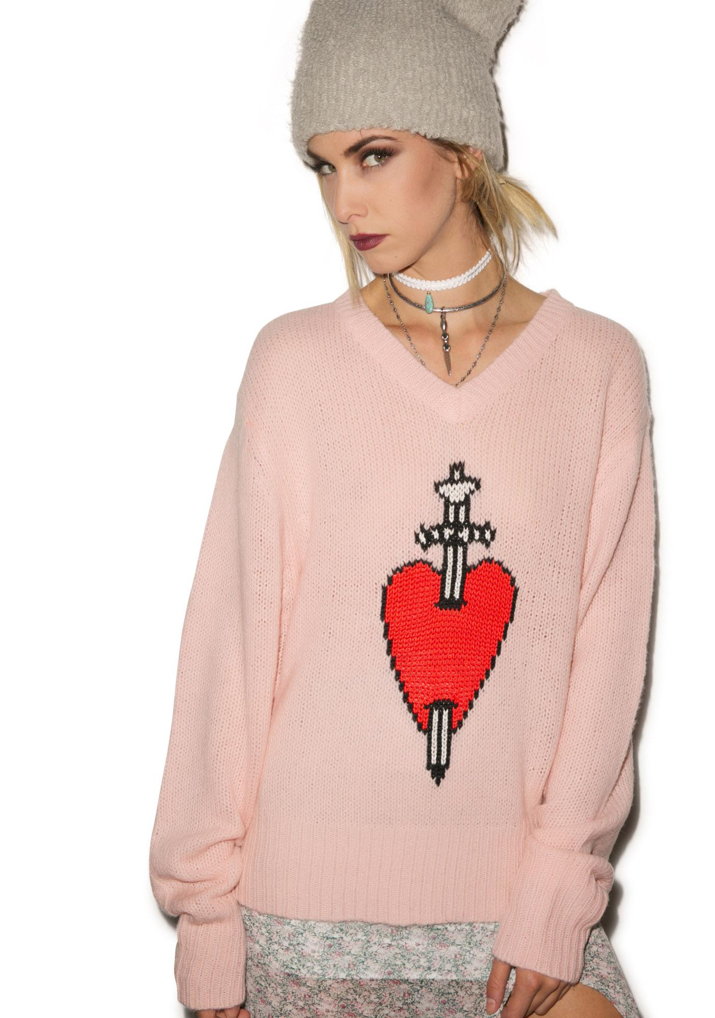Wildfox Couture King Of Hearts V Neck Sweater Dolls Kill