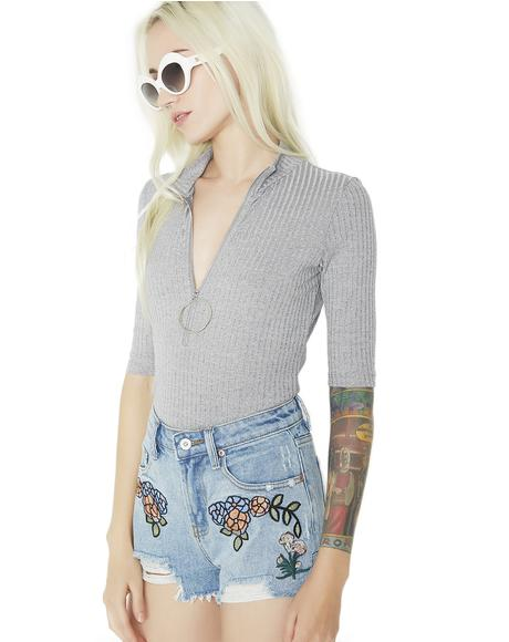 Blossom Fever Embroidered Denim Shorts