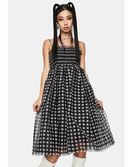 Gingham Tulle Shirring Midi Dress