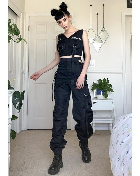 Black Cut Out Workwear Pants