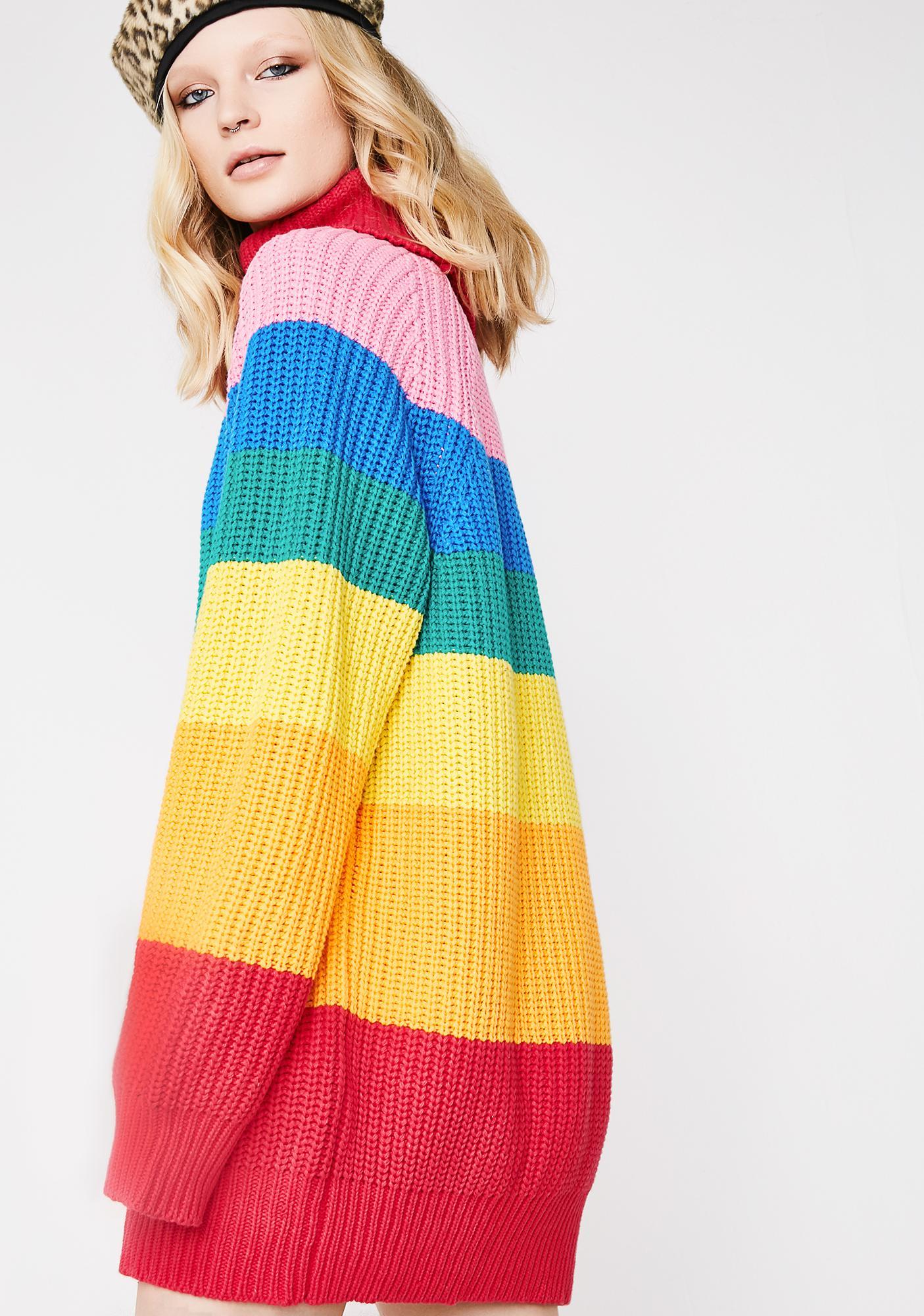 Lazy Oaf Rainbow Roll Neck Jumper