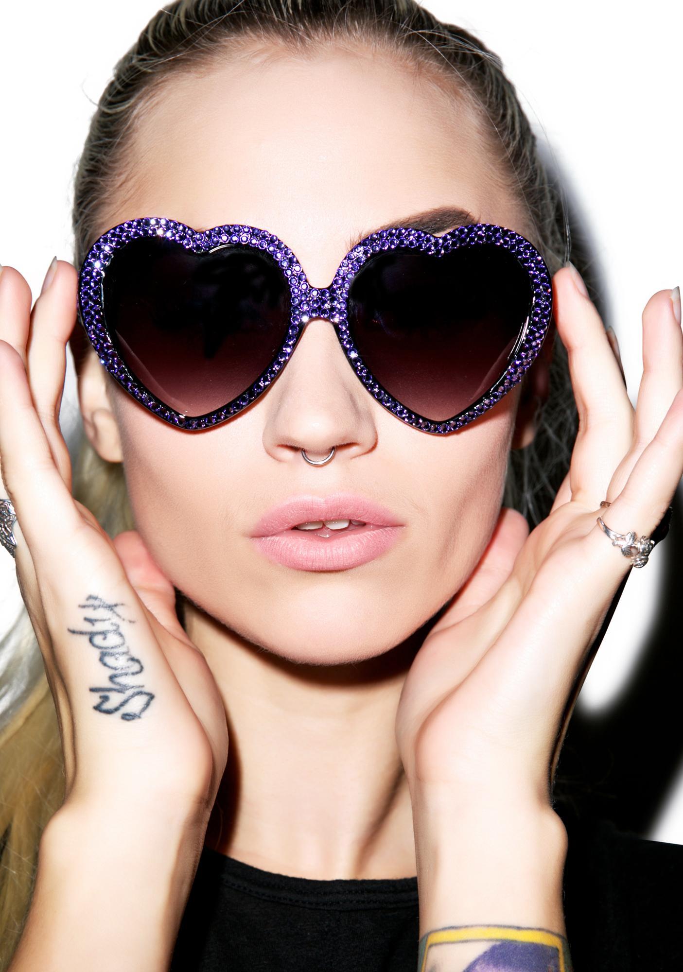 Marialia Lavender Swarovski® Heart Sunglasses