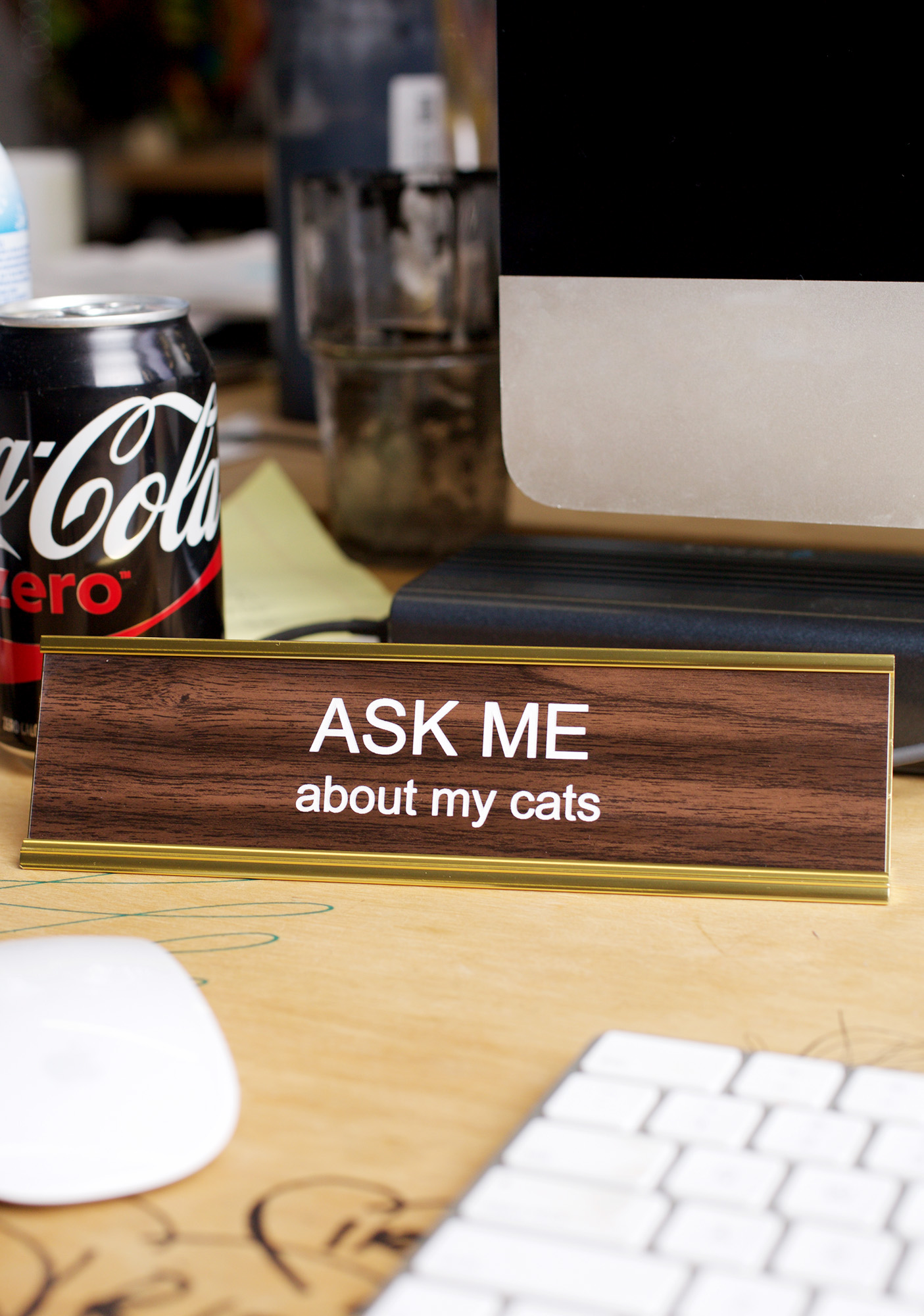 He Said- She Said Ask Me About My Cats Desk Plate