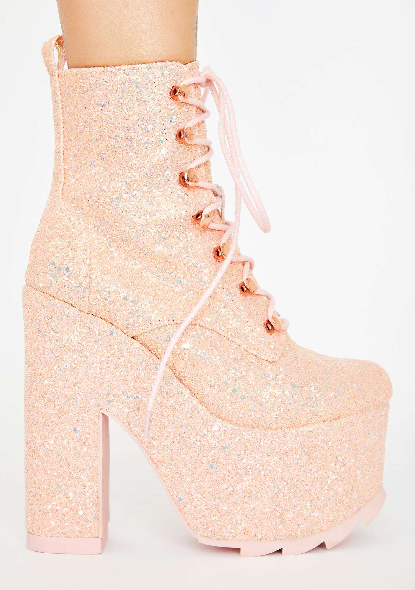 Y.R.U. Pink Glitter Night Terror Platform Boots
