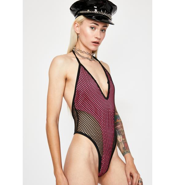 Pink Spaced Out Fishnet Bodysuit