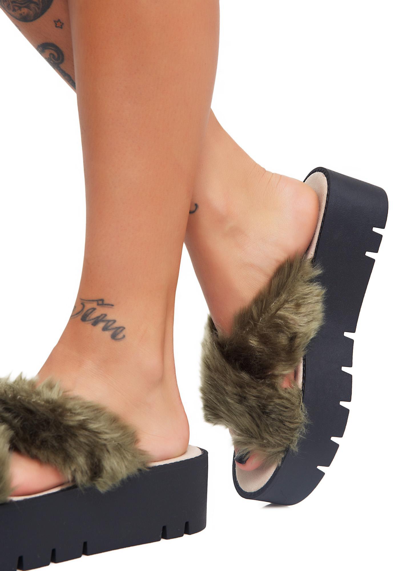Public Desire Kia Faux Fur Sliders