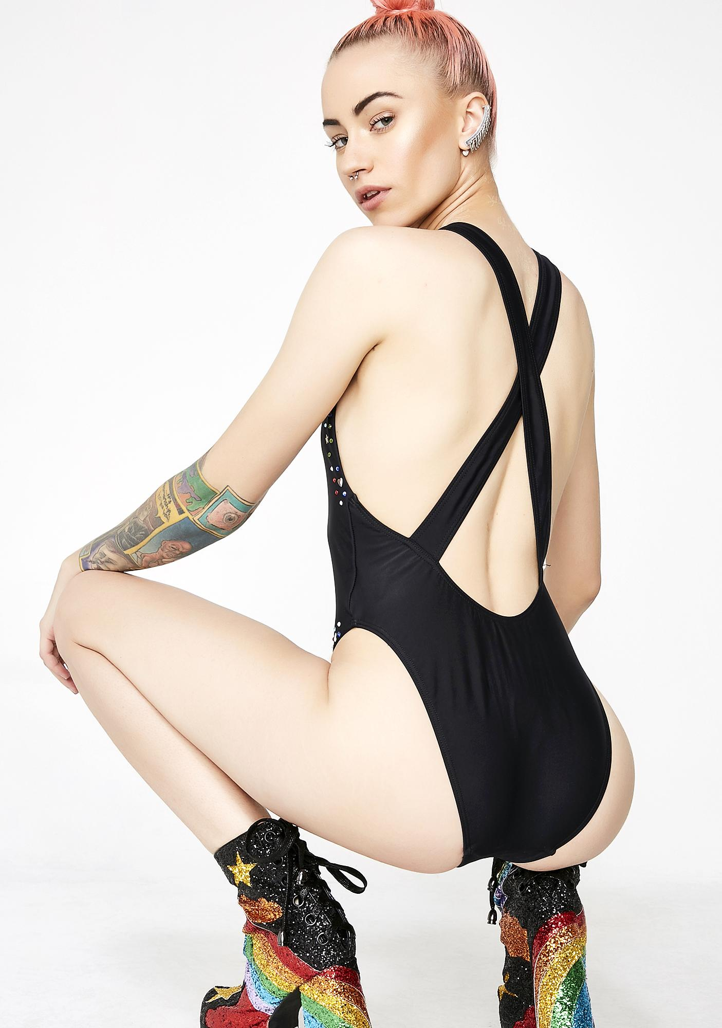 Jaded London Black Rhinestone Racer Neck Swimsuit