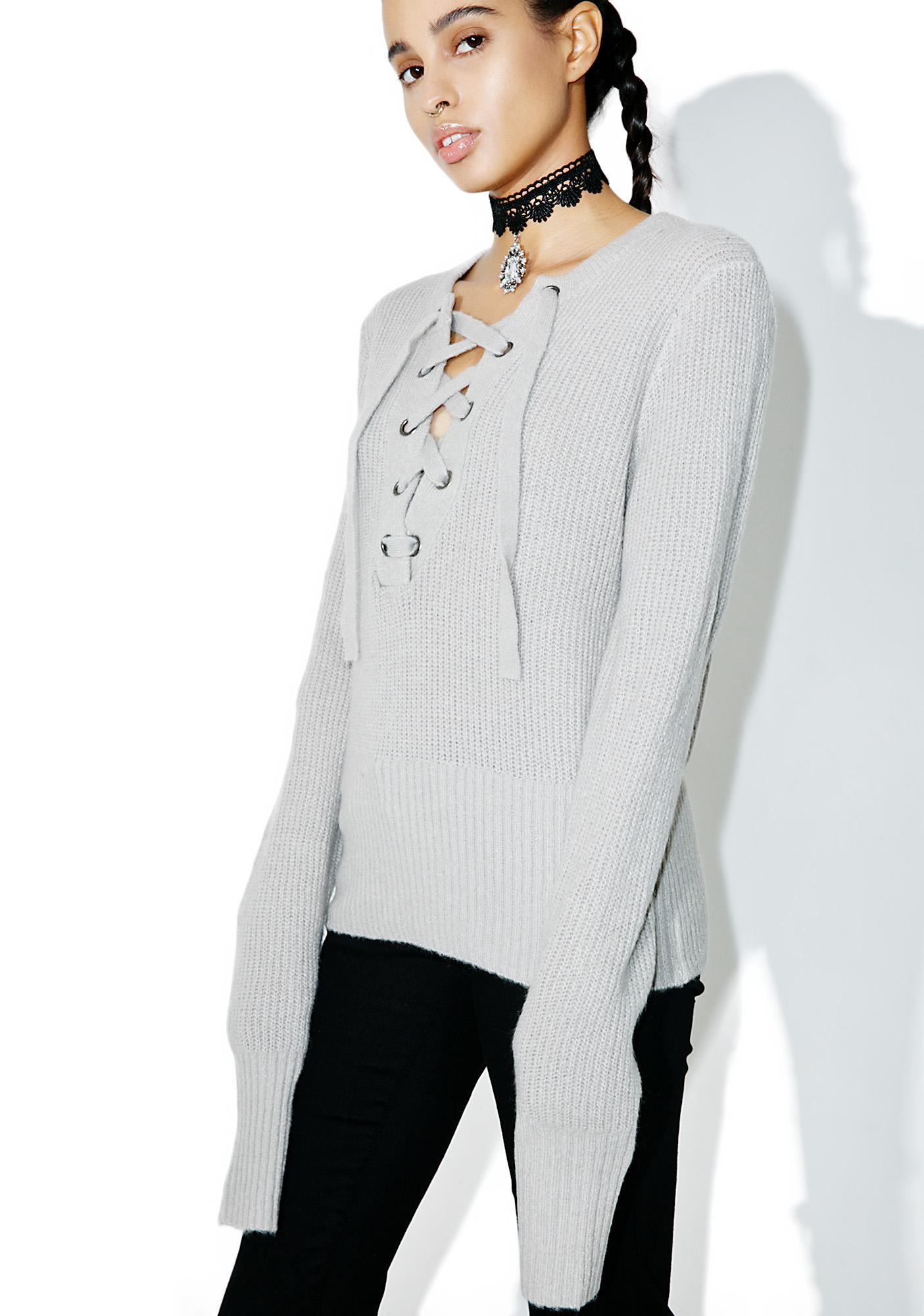 Smoke Feelin' Yew Lace Up Sweater