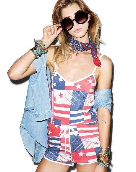 US Flag Pool Party Romper