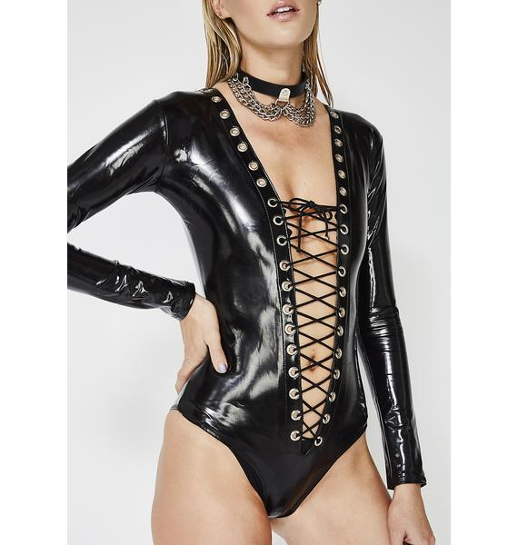 Secret Desires Lace-Up Bodysuit