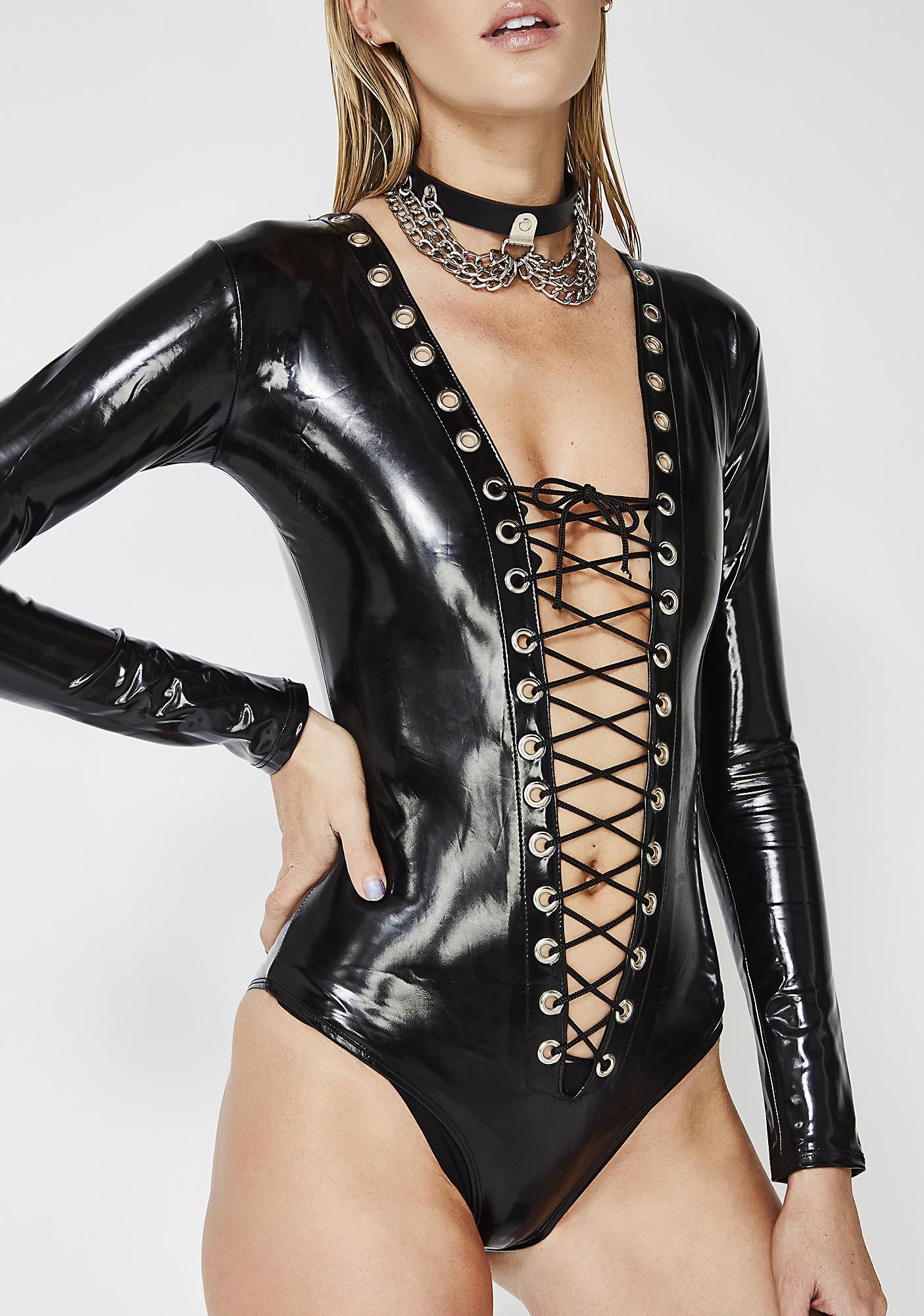 Secret Desires Lace-Up Bodysuit