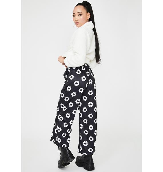 Alzang Black Flower Print Trousers