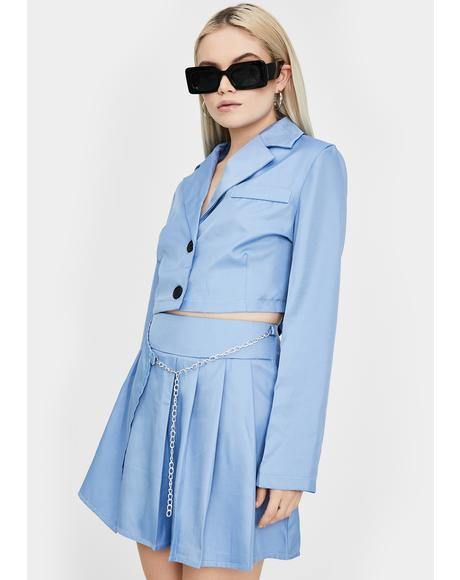 True Sky Chain Blazer Skirt Set