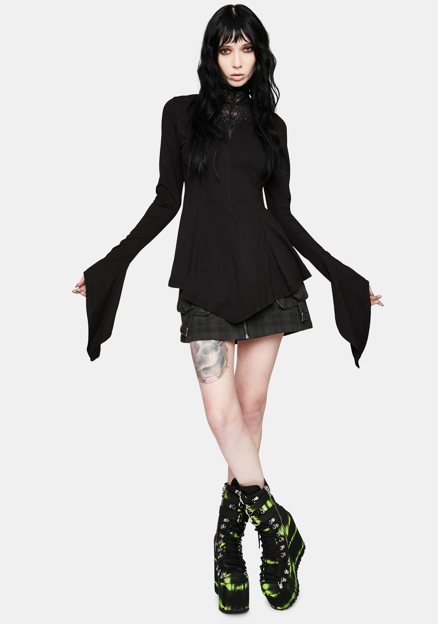 Punk Rave Gothic Sleeve Web Collar T-Shirt