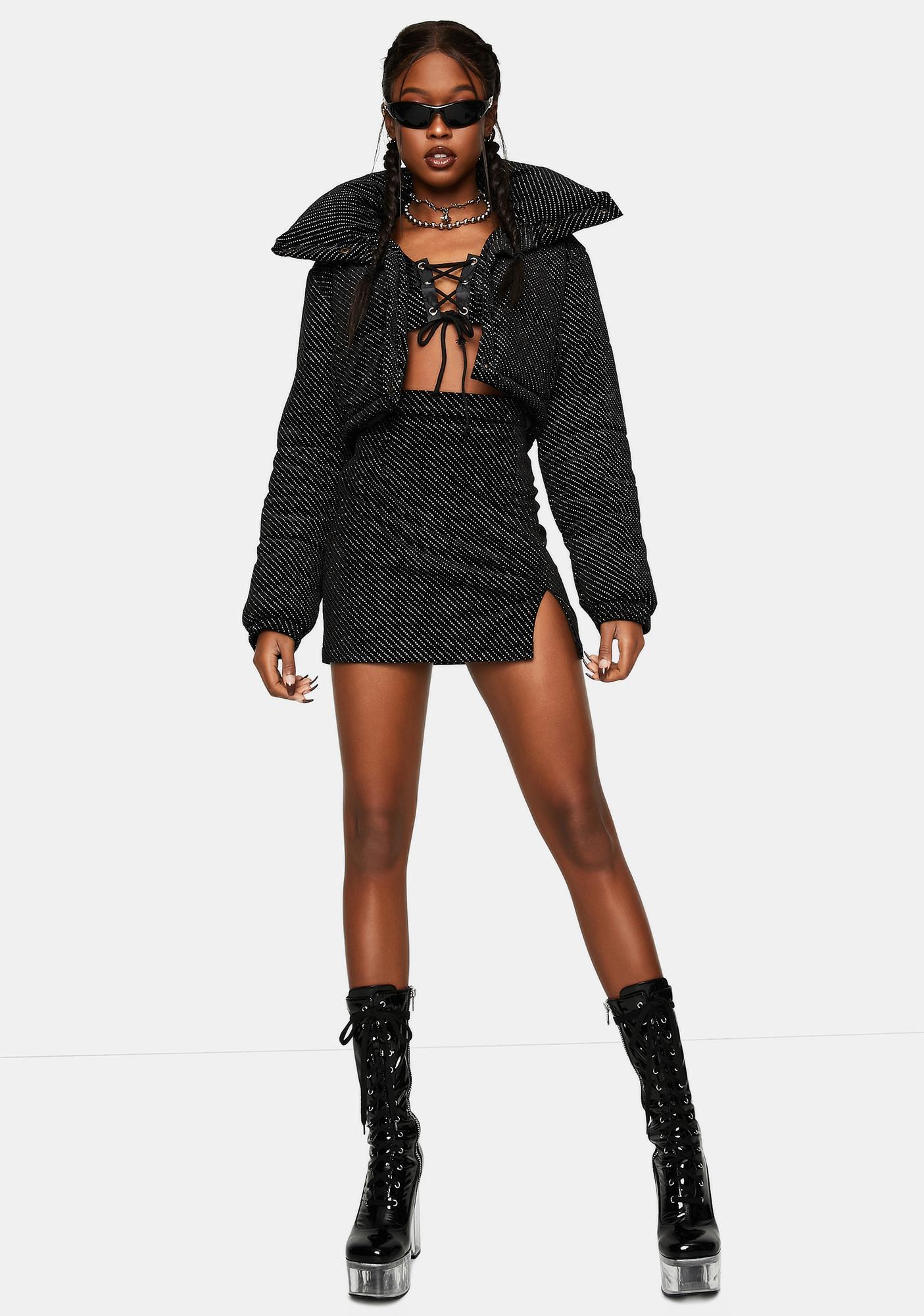 One Above Another Velour Diamante Bodycon Mini Skirt