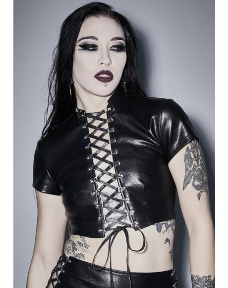 Root Of Evil Lace Up Top