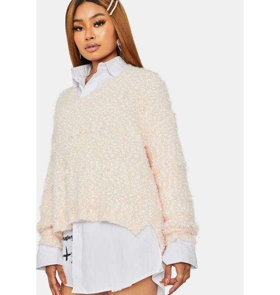 Going The Distance V Neck Hi Low Sweater