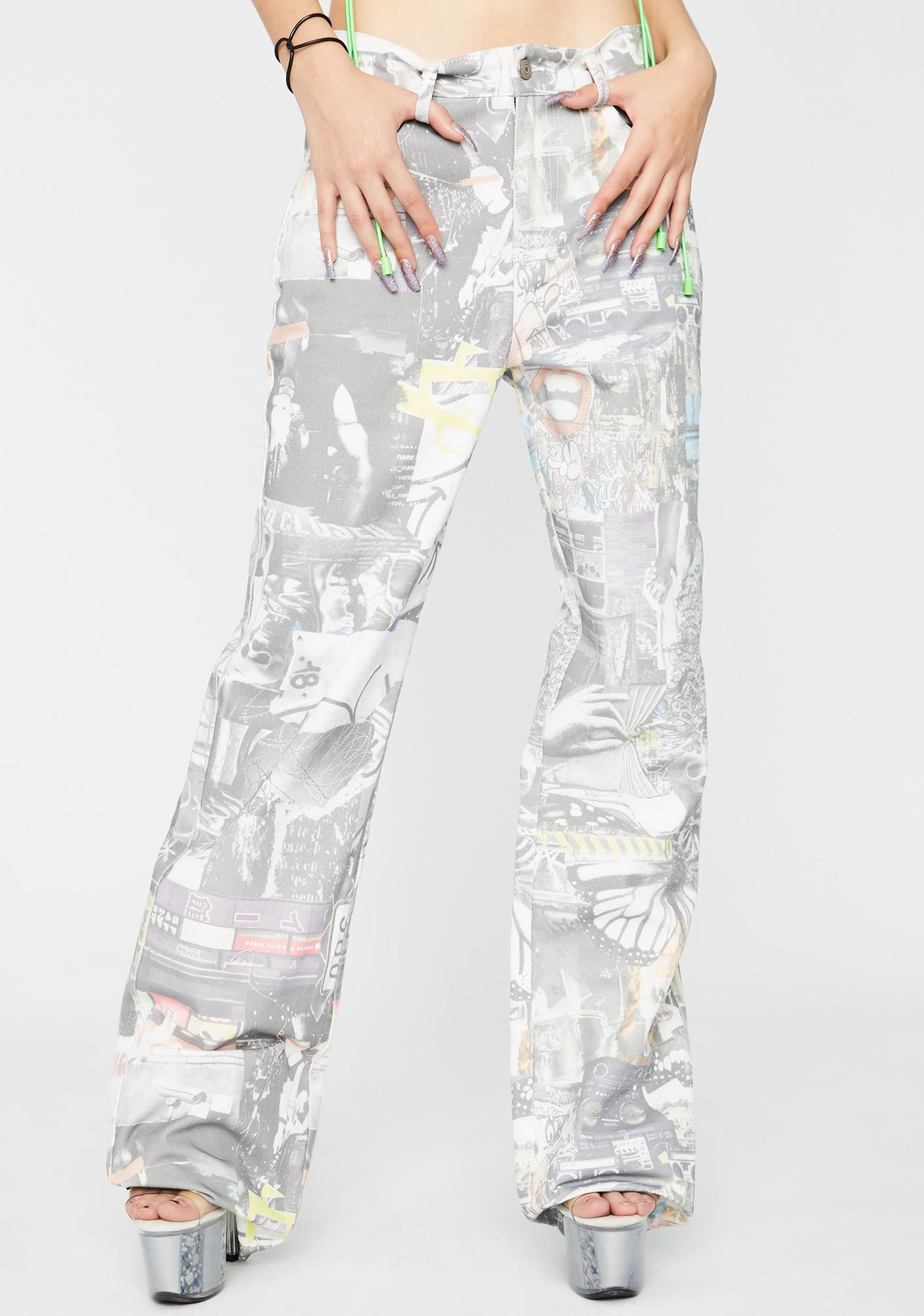 Jaded London Mash Up Print Slouchy Jeans