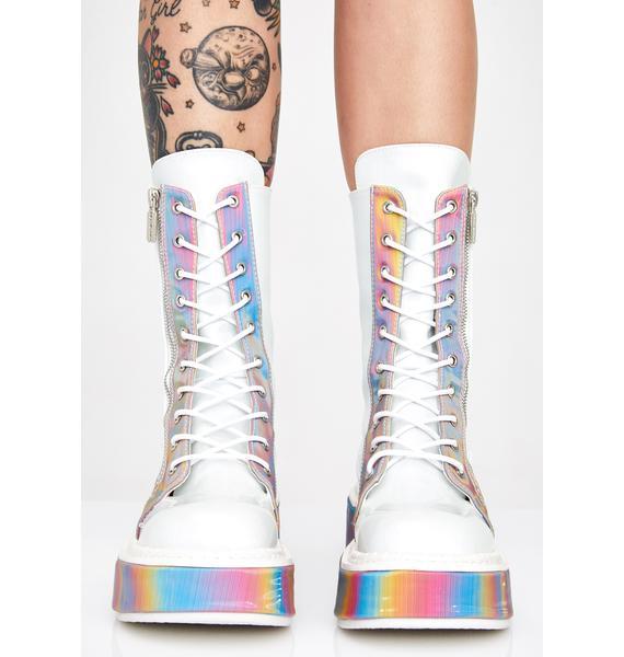 Demonia Electric Fusion Reflective Platform Boots