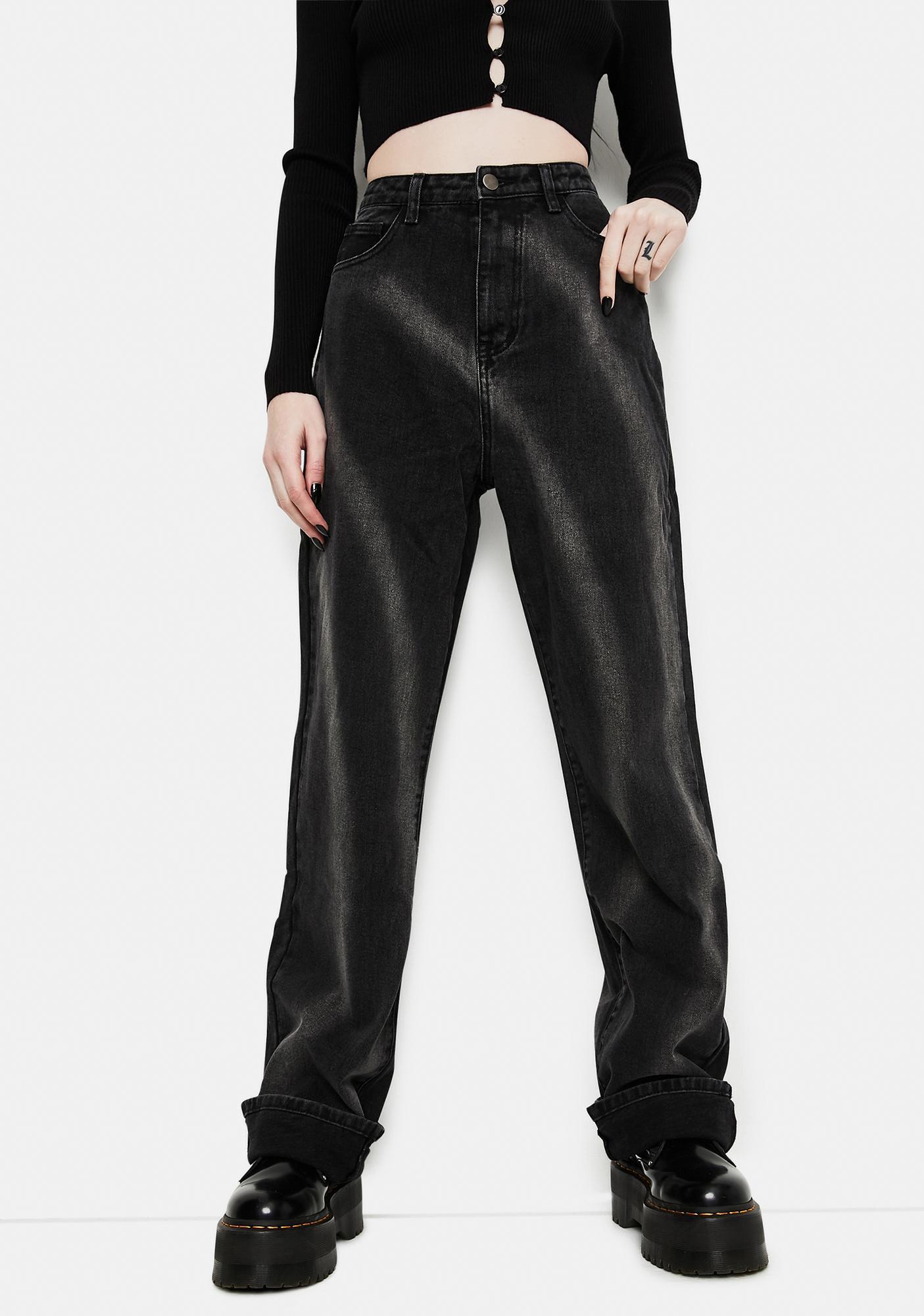 Momokrom Washed Black Tie Dye Circle Effect Baggy Wide Leg Jeans