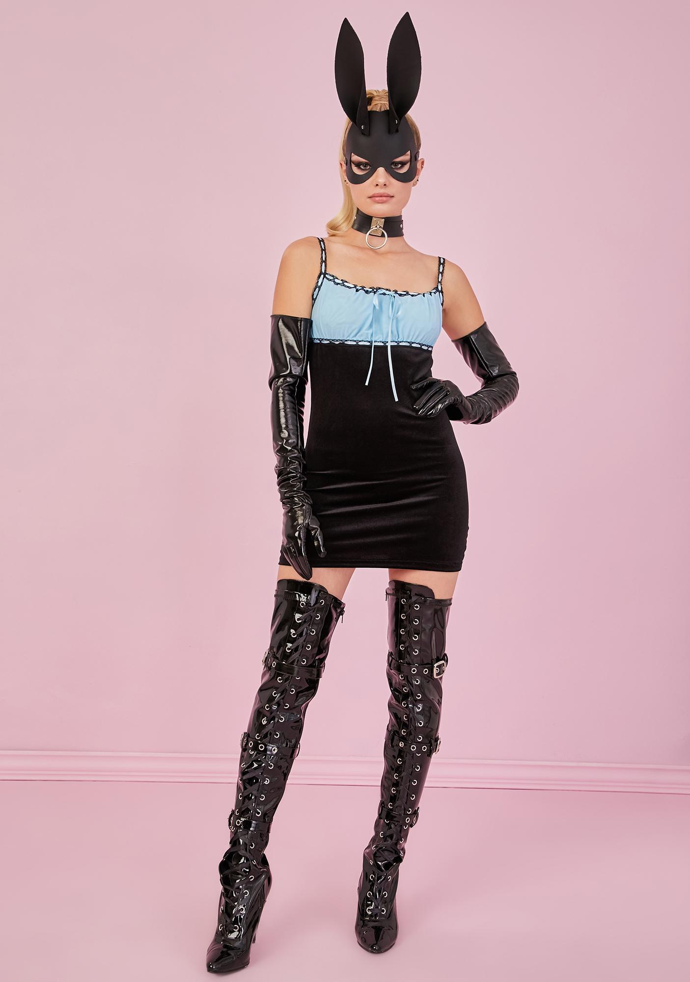 Sugar Thrillz Periwinkle PS I Love You Velvet Dress