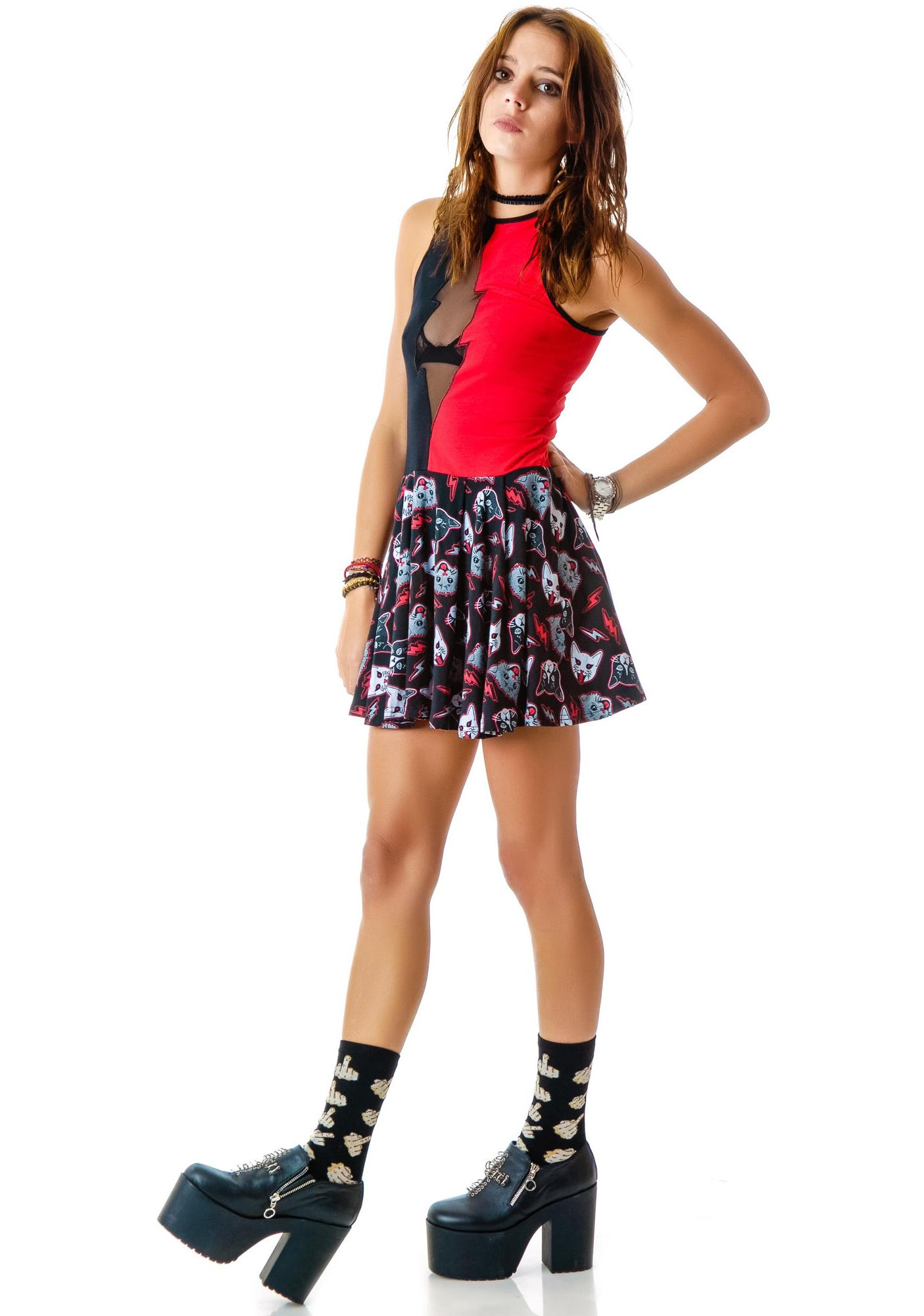 Too Fast Kitty Rocks Omen Skater Dress