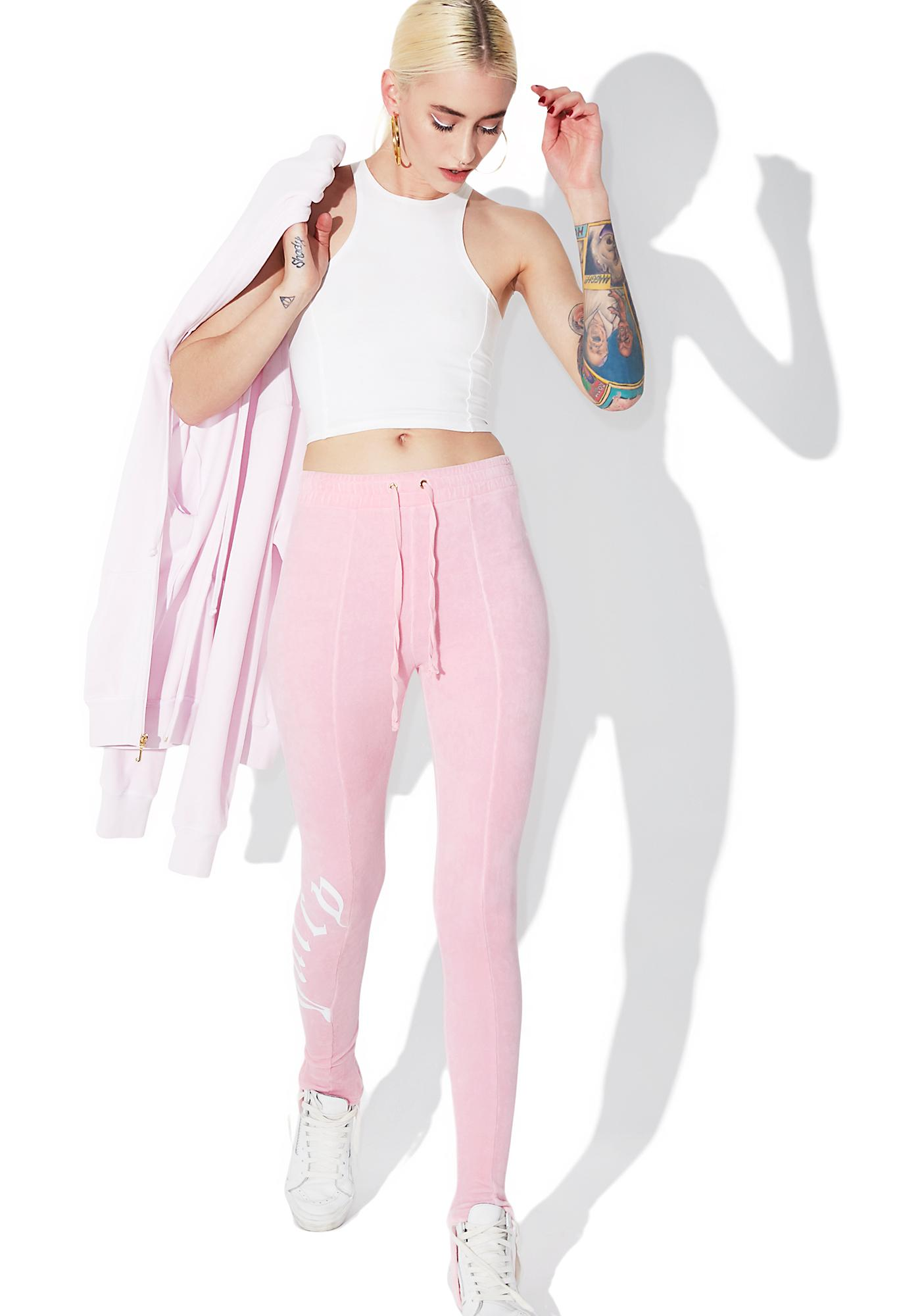 47a21353602457 JUICY COUTURE Riot Blush Velour Stirrup Leggings | Dolls Kill
