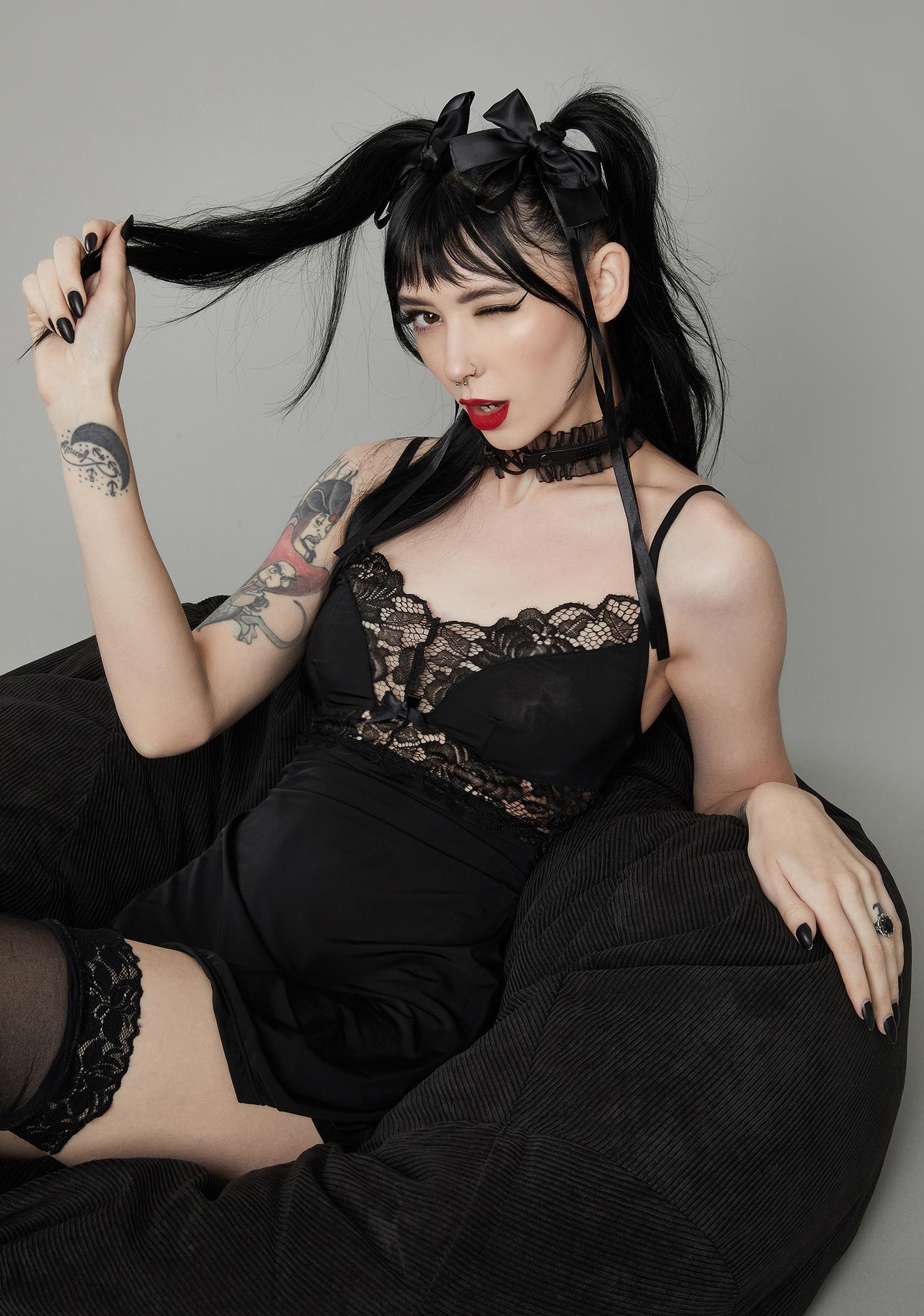 Dolls Kill Dream No More Lace Slip Dress