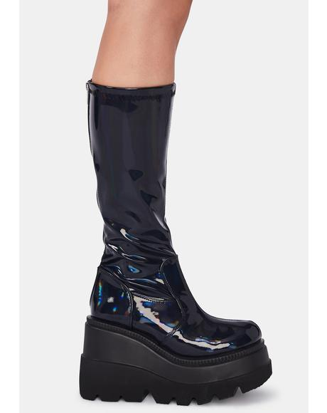 Patent Hologram Shook Up Platform Boots