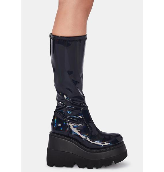Demonia Patent Hologram Shook Up Platform Boots