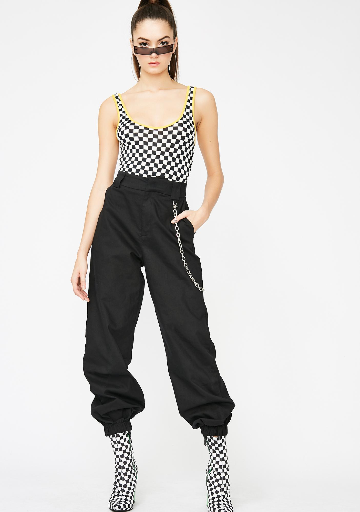 Live Fast Checkered Bodysuit