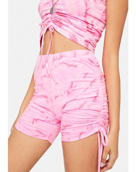 Pink Heat Wave Ruched Biker Shorts