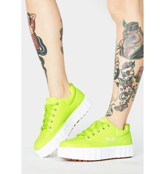 Fila Neon Yellow Sandblast Low Sneakers