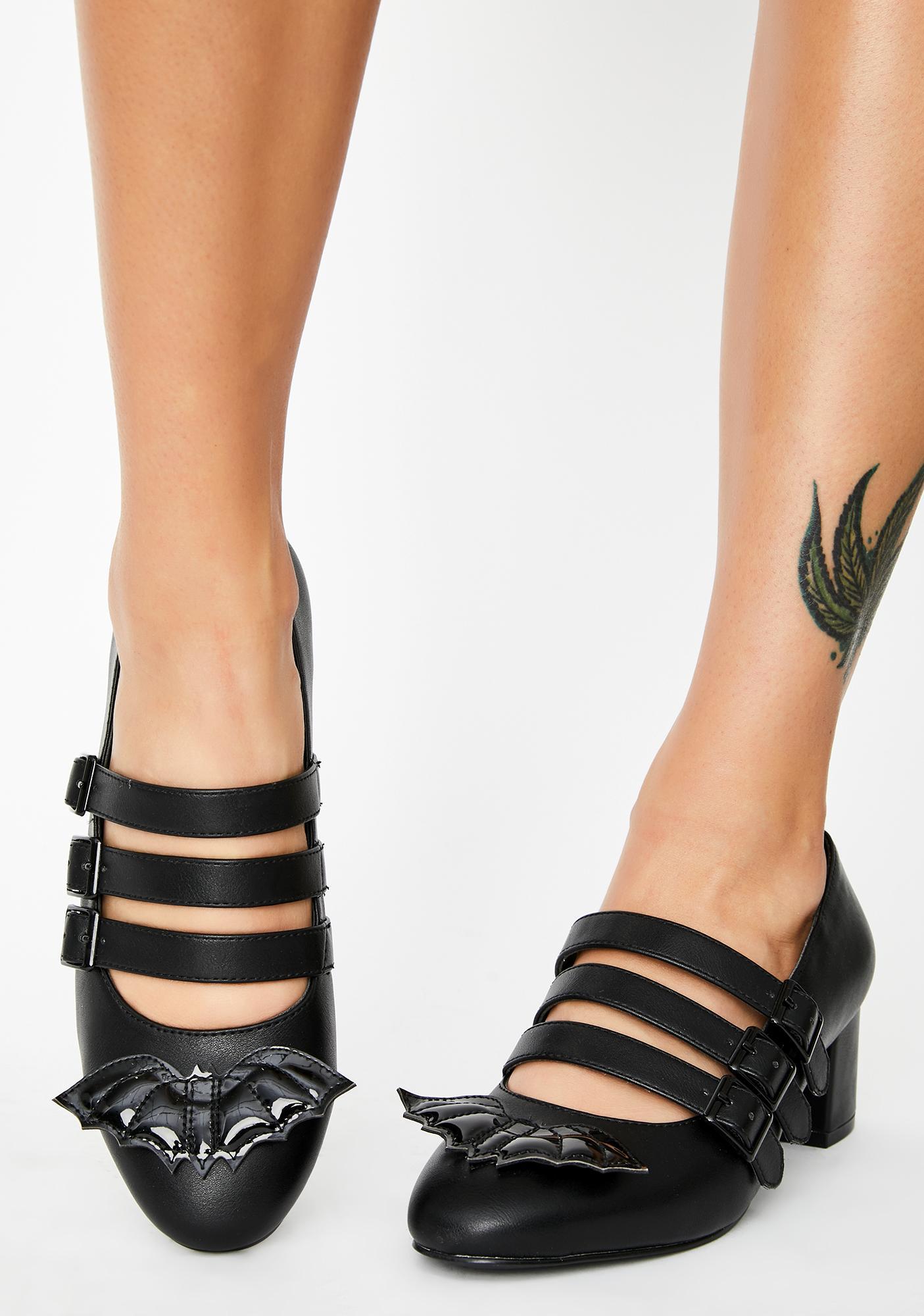 Strange Cvlt Patent Bat Block Heels